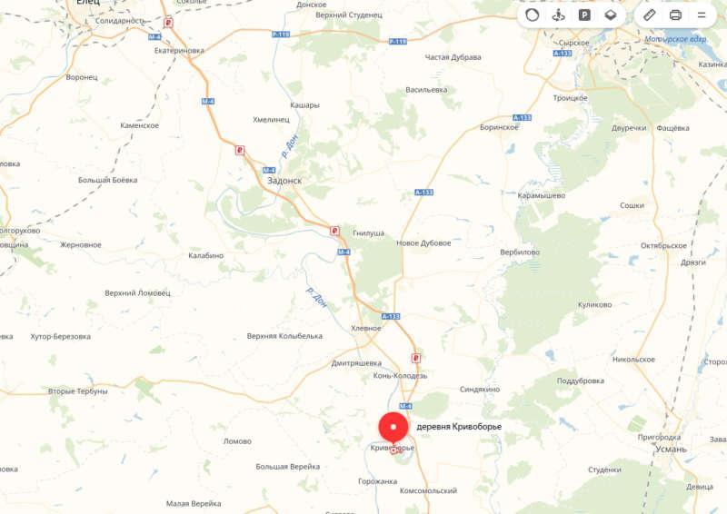 Кривоборье, карта