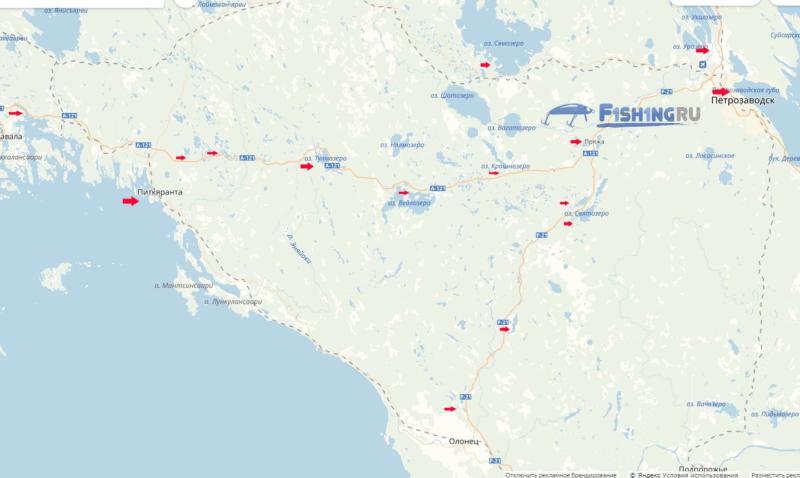 Рыбалка в Карелии карта