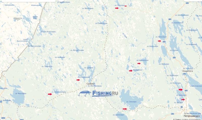 Восточная часть Петрозаводской области карта рыбалка