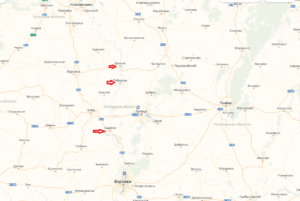 Карта Липецкой области с указанием рыболовных точек