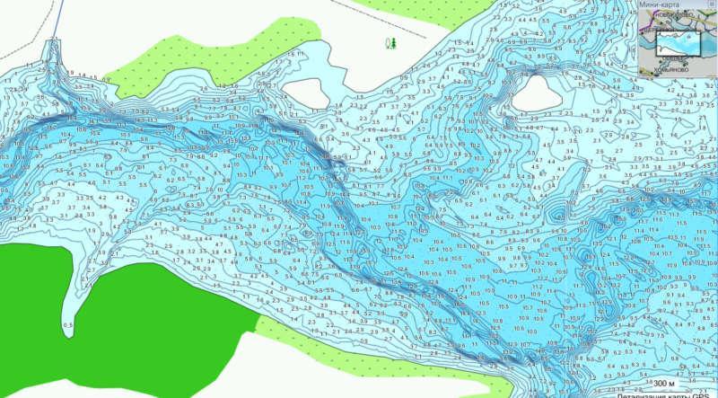 Карта глубины рыбинского водохранилища