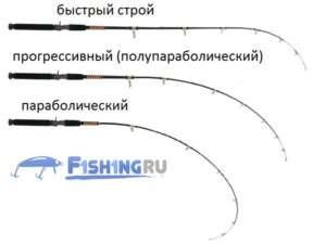 Строи фидерных удилищ: быстрый, параболический, прогрессивный